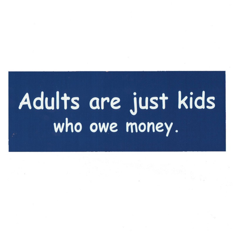 Adults are just kids who owe money. Reflectives